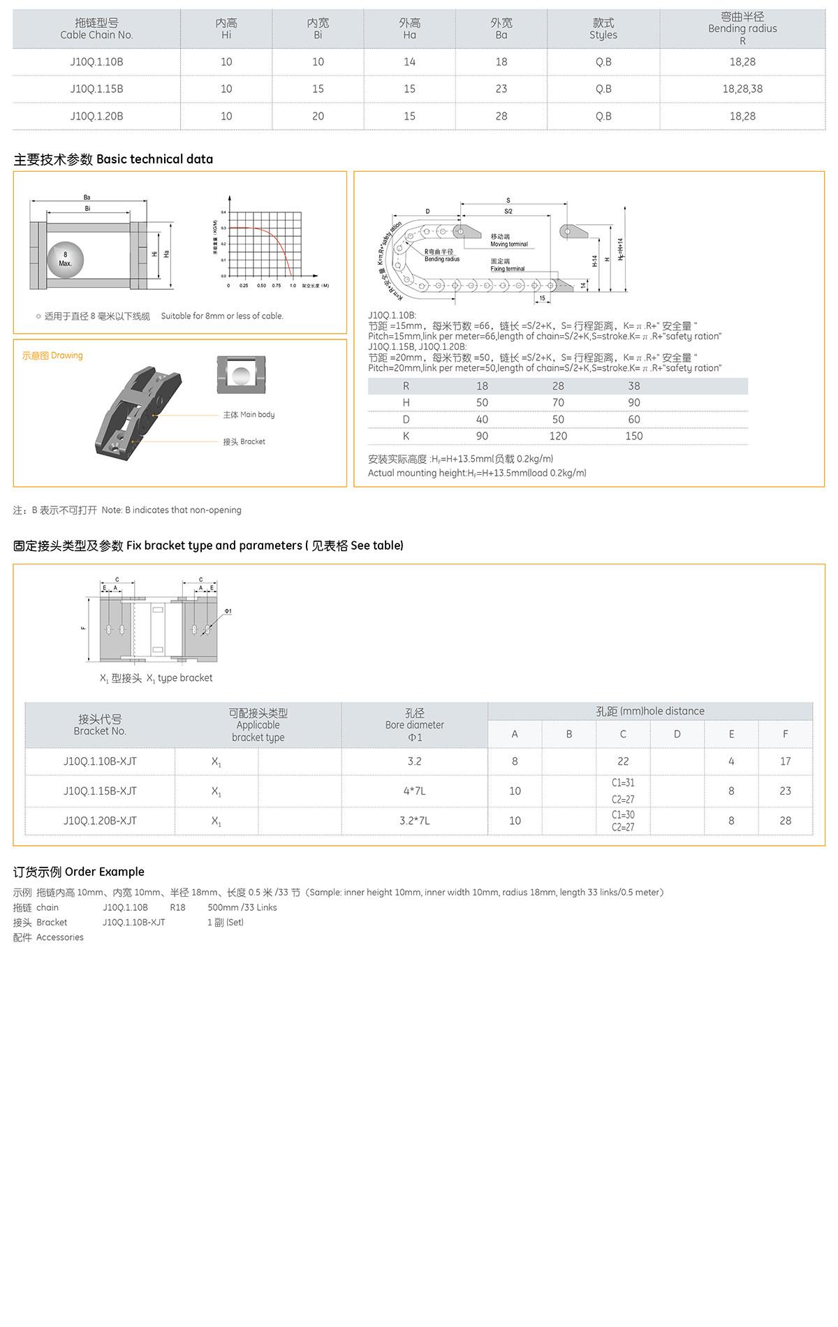 Xích nhựa cuốn cáp series J10Q.1.B