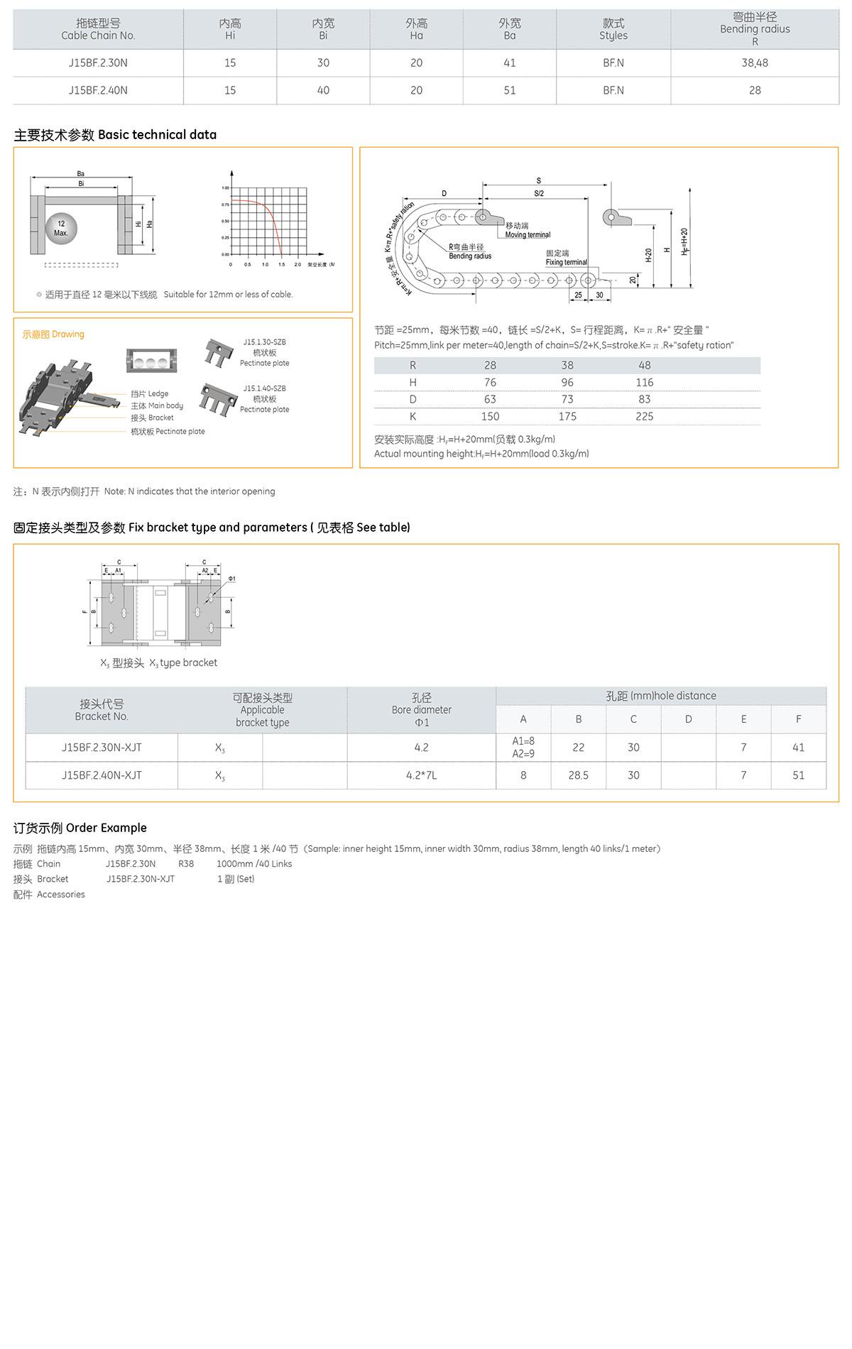 Xích nhựa cuốn cáp series J15BF.2.N