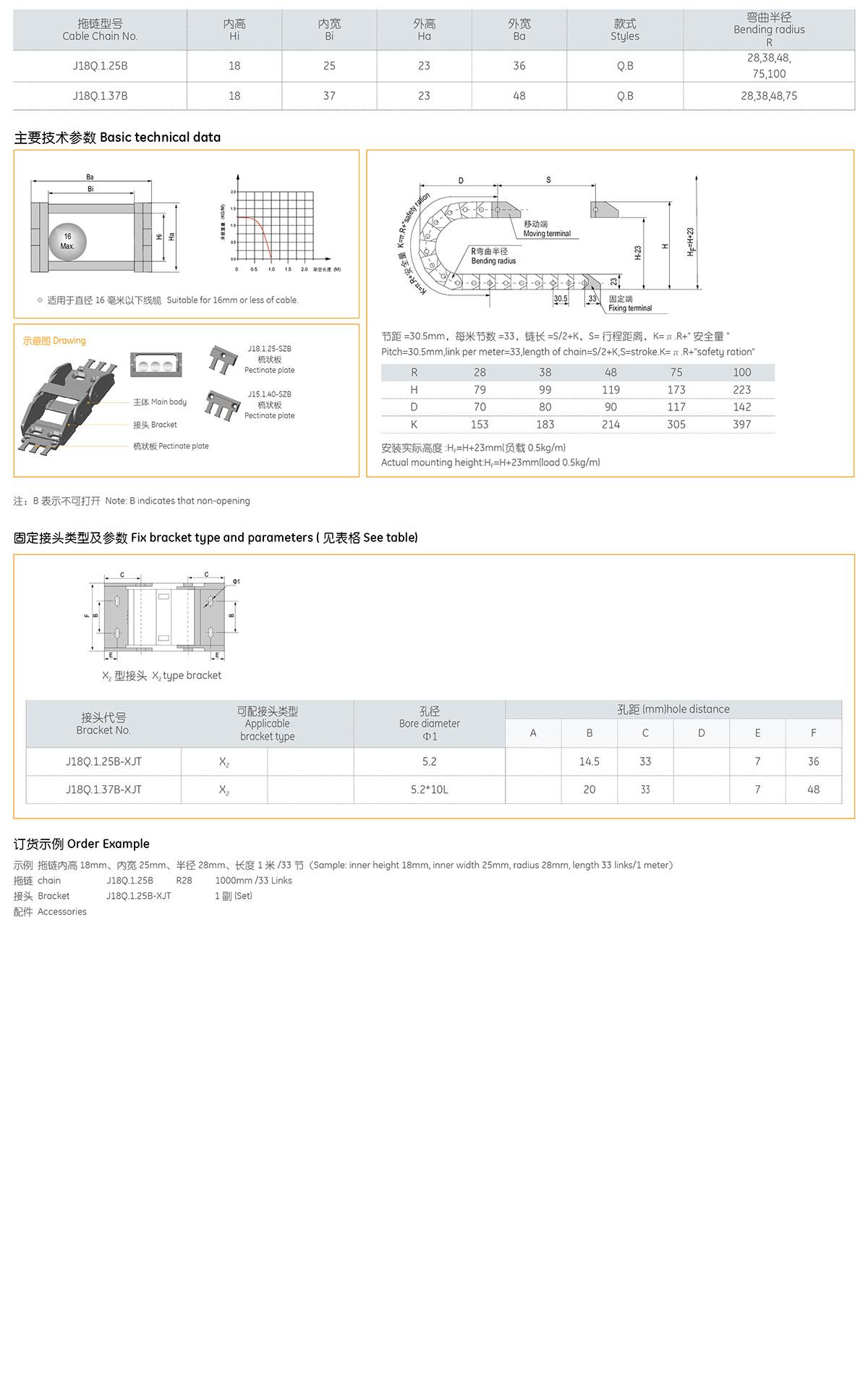 Xích nhựa cuốn cáp series J18Q.1.B
